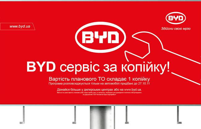 Дизайн рекламной кампании BYD СТО