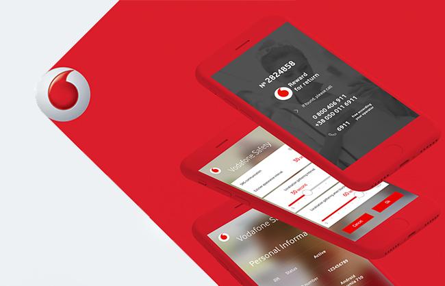 Дизайн мобильного приложения и лендинга Vodafone Safety